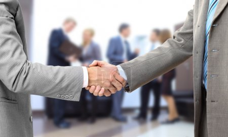 Handshake isolated in office
