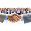 Handshake isolated on business background...