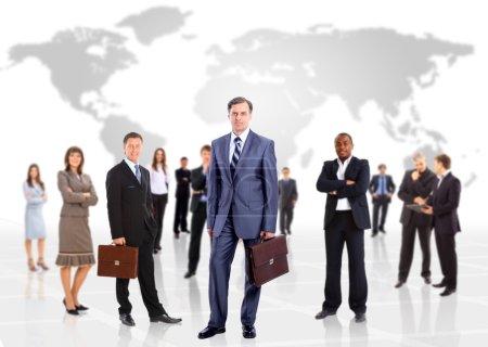 Photo pour Homme d'affaires et son équipe isolé sur un motif blanc - image libre de droit