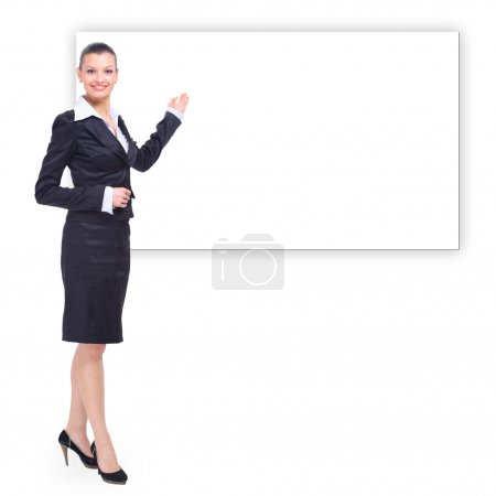 Portrait of a pretty young business woman standing isolated on white backgr