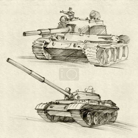 Vintage card with soviet tanks