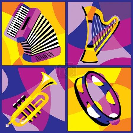 Illustration pour Collection d'images vectorielles de divers instruments de musique - image libre de droit