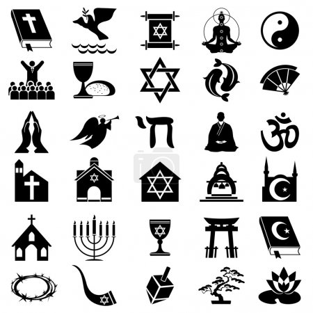 Set vector images of religions simbol. Black and w...