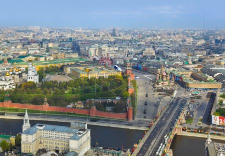 Photo for Parade of victory day at Moscow Kremlin - aerial view - Royalty Free Image