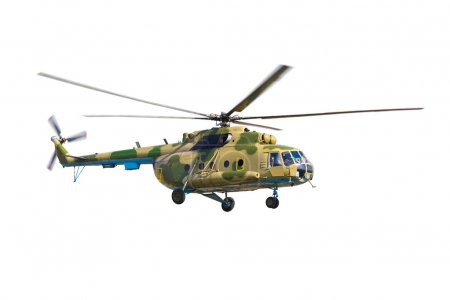 Military helicopter isolated on a white background...