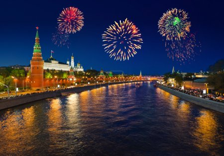 Photo for Firework over Kremlin in Moscow at Russia - Royalty Free Image