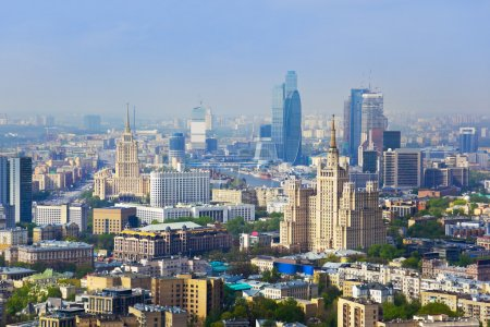 Photo for Centre of Moscow, Russia - aerial view - Royalty Free Image