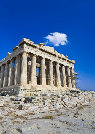 Photo for Parthenon temple in Acropolis at Athens, Greece - travel background - Royalty Free Image