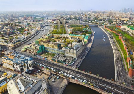 Photo for Moscow (Russia) center - aerial view - Royalty Free Image