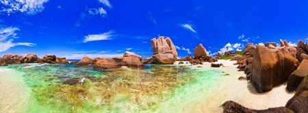 Panorama of tropical beach at Seychelles