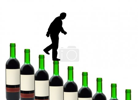 Photo for Wine bottles and alcoholic man isolated on white background - Royalty Free Image