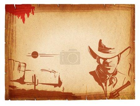 Photo pour Affiche avec les éléments occidentaux sur vieux papier background.retro - image libre de droit
