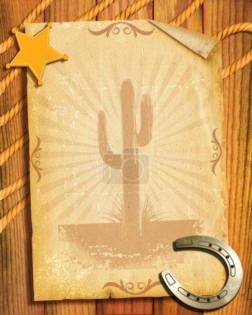 Photo pour Fond de papier de style.old de cow-boy avec étoile de shérif et fers à cheval - image libre de droit