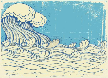 Illustration for Huge wave in sea.Vector grunge illustration - Royalty Free Image