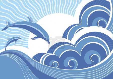 Vector blue dolphins jumping in sea in sun day