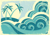Sea waves and island Vector vintage graphic illustration of water seascape