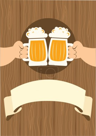 HAnds with glasses of beer who toast.