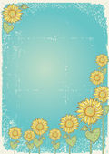 Sunflower Vector vintage postcard with grunge elements