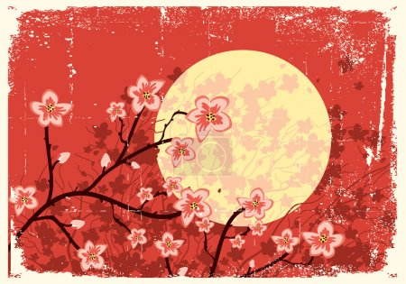 Illustration for Illustration of sakura branches.Vector grunge image on old texture - Royalty Free Image