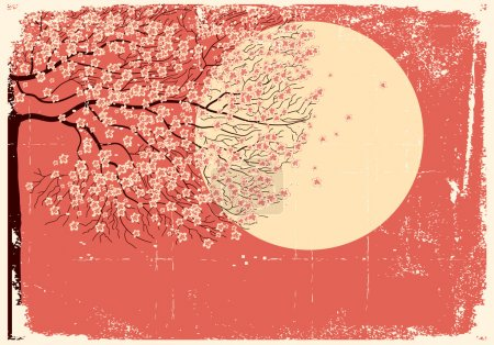 Illustration for Illustration of sakura branches.Vector beautifull background on old paper texture - Royalty Free Image