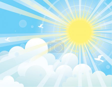 Illustration for Sunshine and blue sky with beautifull clouds and flying birds.Vector image - Royalty Free Image