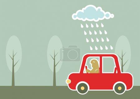 Illustration pour Homme conduisant en voiture sous la pluie nuageux.Fond vectoriel - image libre de droit