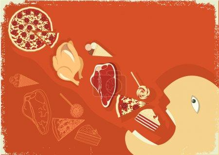Illustration pour Homme affamé mangeant beaucoup de nourriture.Affiche vectorielle grunge - image libre de droit