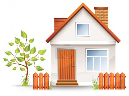 Illustration for Small house with nice green court yard and fence, vector illustration - Royalty Free Image
