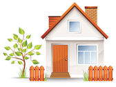 Small house with nice green court yard and fence vector illustration