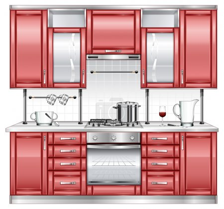 Illustration for Kitchen interior with utensils and ware, vector illustration - Royalty Free Image