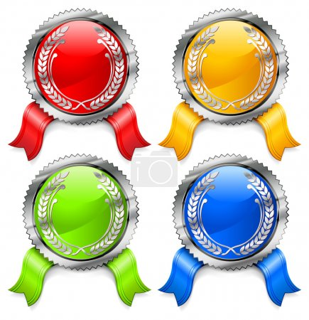Illustration for Round certificate with color ribbon on white background, vector illustration - Royalty Free Image