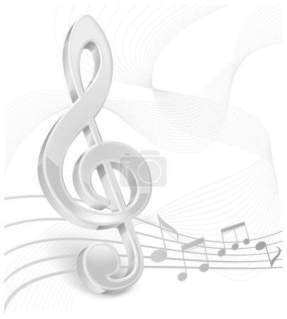 White treble clef on white