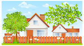 Rural landscape small house with fence and garden vector illustration