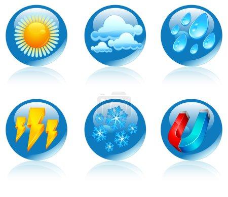 Illustration for Weather round icons, forecast emblems on white, vector illustration - Royalty Free Image