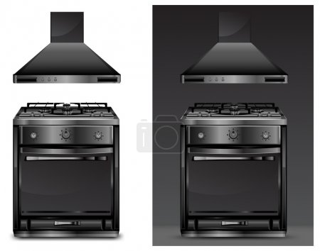 Black gas cooker over