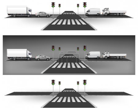 Illustration for Crossroad on way, green traffic lights and city traffic, vector illustration - Royalty Free Image