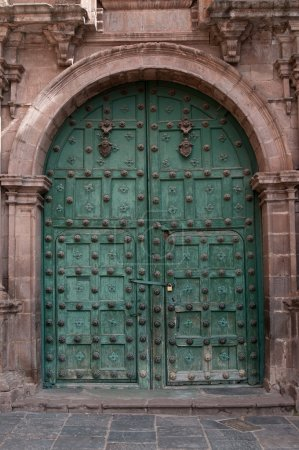 Gate in wall of ruins of the cathedral in Cusco...