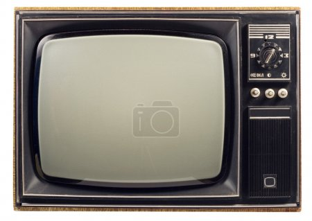 Photo for Old vintage TV over a white background - Royalty Free Image