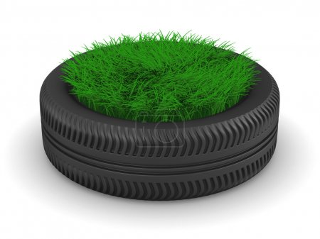 Tyre with grass on white background. Isolated 3D image