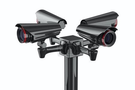 Photo pour Quatre caméras de sécurité sur fond blanc. Image 3D isolée - image libre de droit