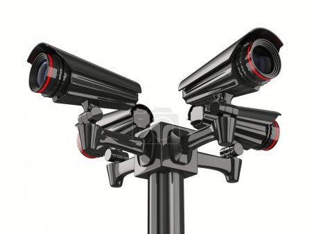 Photo pour Caméra de sécurité quatre sur fond blanc. image 3d isolé - image libre de droit