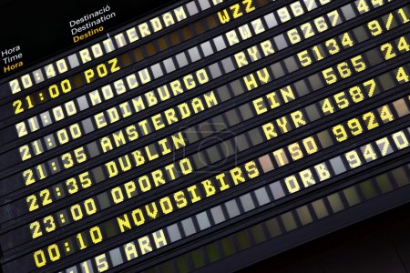 Timetable in airport