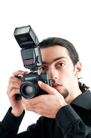 Photo pour Photographe avec l'appareil photo numérique - image libre de droit