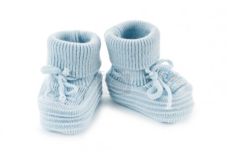 Woven baby shoes isolated on white background