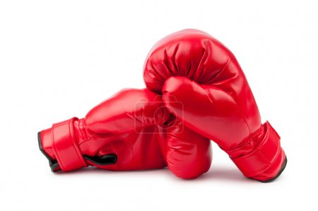 Photo for Red boxing gloves isolated on white - Royalty Free Image