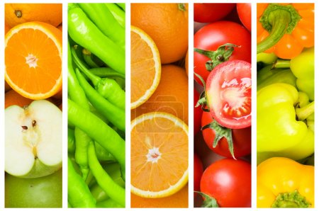 Photo for Collage of many fruits and vegetables - Royalty Free Image