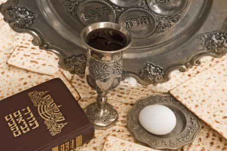 Matza bread for passover celebration with torah an...