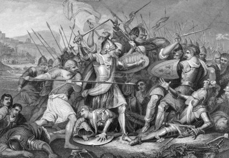 Battle of Agincourt in 1415 on engraving from the ...