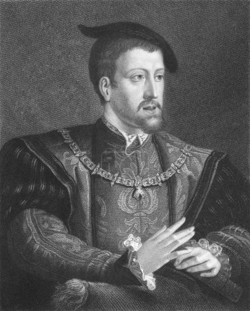 Foto de Charles V (1500-1558) on engraving from the 1800s. Ruler of the Holy Roman Empire from 1519 and of Spain as Charles I from 1506 until his abdication in 1556. En - Imagen libre de derechos