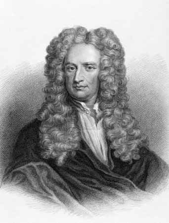Photo pour Isaac Newton (1643-1727) on engraving from the 1800s. One of the most influential scientists in history. Engraved by Freeman from the original painting by Sir G - image libre de droit
